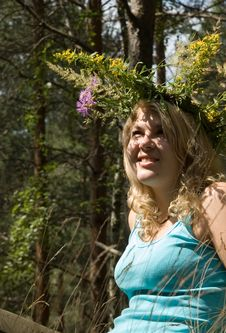 Free Young Beautiful Woman In A Summer Wood Stock Image - 5989011