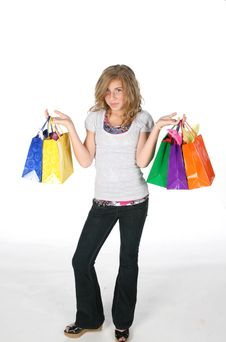 Free Girl With Shopping Bags Royalty Free Stock Photos - 5989718