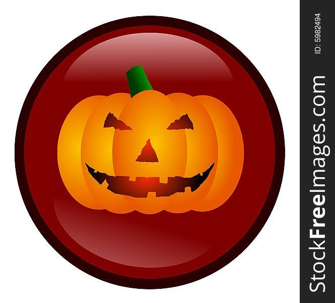 Halloween Glassy Button Vector