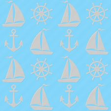 Free Blue Seamless Pattern With Boats, Anchors And Helms. Stock Image - 59836121