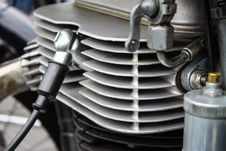 Free Motorcycle Cylinder Close Up With Spark Plug. Stock Image - 59844681