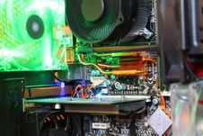 Gaming Computer Mainboard With A Lot Of Fans And Cooling Pipes. Stock Photography