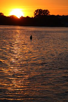 Free Buoy In Lake Over Sunset Stock Photography - 5991132