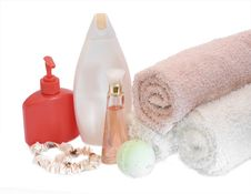 Spa Aromatherapy And Towels Royalty Free Stock Photos