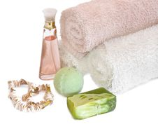 Spa Aromatherapy And Towels Royalty Free Stock Photo