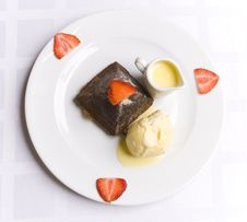 Chocolate Dessert With Strawberry Stock Photo