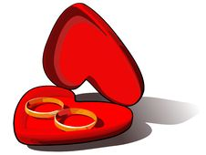 Free Wedding Rings In A Red Box Royalty Free Stock Image - 5992766