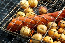 Free Grill With Potatoes And Sausage Stock Photos - 5992913