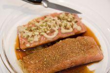 Free Preparing Salmon Fillets Royalty Free Stock Photography - 5993157