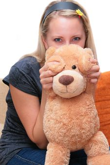 Free Blonde With Teddy Stock Photography - 5994232