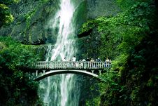 Free Bridge With Waterfall Stock Photography - 5994382