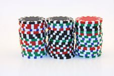 Free 3 Stacks Of Casino Chips Royalty Free Stock Photos - 5995328