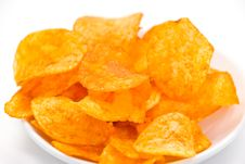 Fresh Potato Chips With Red Pepper Stock Photos