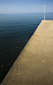Concrete Pier On The Ohrid Lake Stock Photography