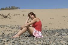 Free Woman In A Desert Dune Stock Image - 5998621