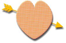 Patterned Heart With A Golden Arrow Royalty Free Stock Images