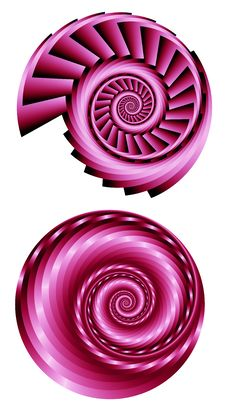 Free Two Pink Fractal Spirals 2 Stock Image - 66761