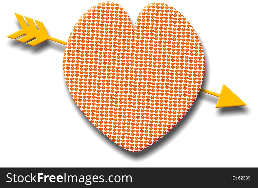 Patterned heart with a golden arrow