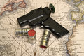Free Flare Gun On The Map Royalty Free Stock Photos - 606338