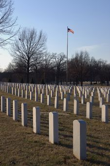 Free Flag Flying Over Cemetery Stock Images - 604964