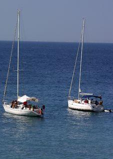 Free Sailboats Anchored In Bay Stock Image - 605171