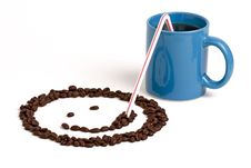 Free Smiley Face Sipping Coffee Royalty Free Stock Photo - 605715