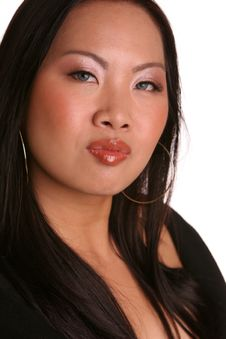 Isolated Asian In Black Pouting Royalty Free Stock Photos