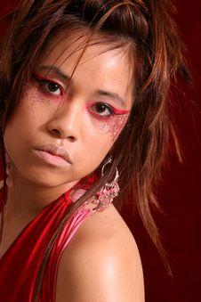 Asian Girl Red Dress Close Royalty Free Stock Photography