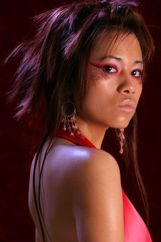 Asian Red Dress Over Shoulder Royalty Free Stock Images