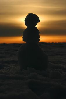 Snowman Sunset Royalty Free Stock Photo