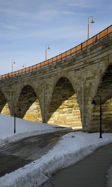 Free Under The Stone Arch Bridge Stock Image - 608881