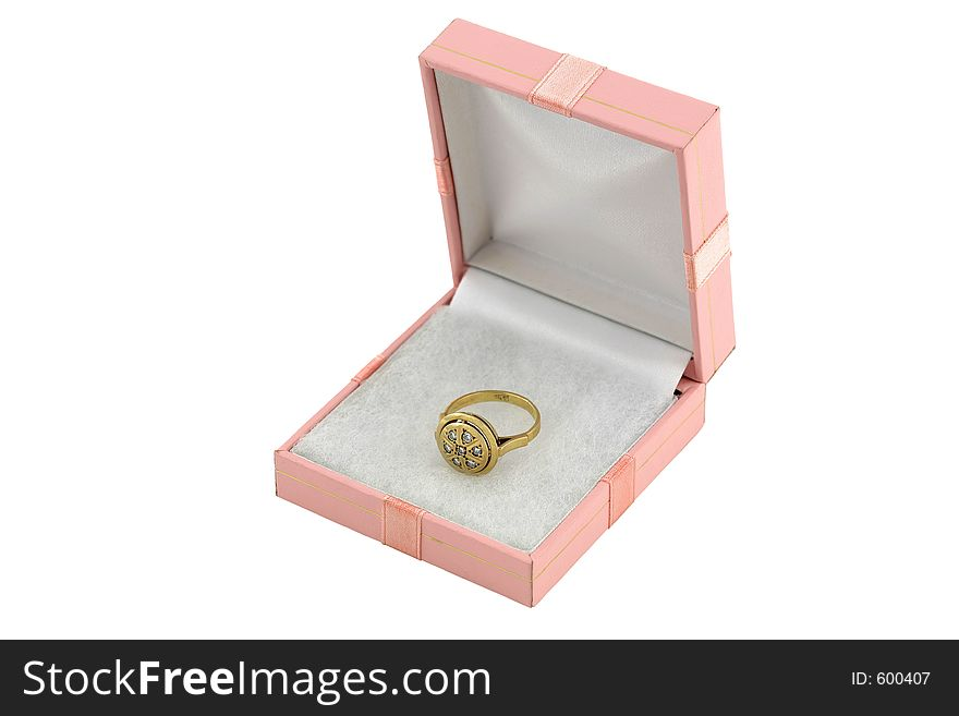 Jewelery gold ring with diamond in box