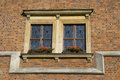 Free Double Window Over Red Brick Wall Stock Image - 6004691