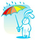 Free Rabbit With Umbrella Royalty Free Stock Photos - 6009728