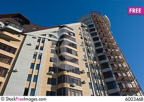 Free Modern Brick Multistory House On Deep Blue Sky Bac Royalty Free Stock Photos - 6003468