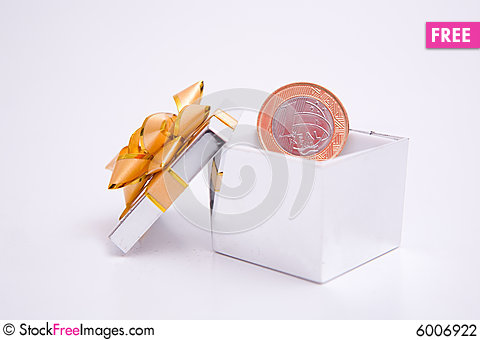 Free Box To Gift And Coin Stock Photography - 6006922