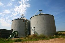 Two Grain Silos Stock Image
