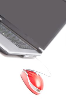 Computer And Red Mouse Royalty Free Stock Photos