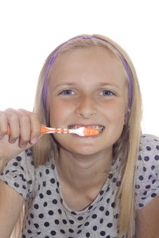 Free Young Teenager Girl Cleaning Tooth Royalty Free Stock Image - 6001126