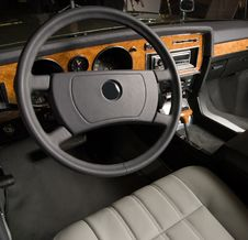 Luxury Old Car Interior Stock Photography