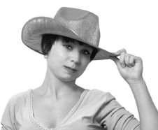 Free The Beautiful Girl In A Cowboy S Hat. Isolated. Stock Images - 6002134