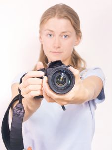 Free The Beautiful Girl With White Photocamera Royalty Free Stock Photo - 6002155