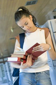 Free Young Beautiful Student In College Stock Images - 6003234