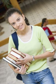 Free Young Beautiful Student In College Stock Images - 6003324