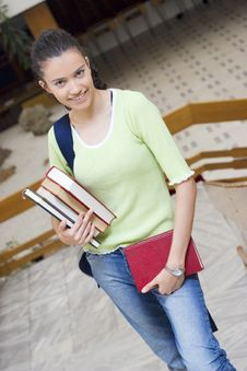 Free Young Beautiful Student In College Stock Photos - 6003333