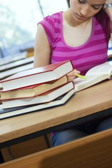 Free Young Beautiful Student In College Royalty Free Stock Photo - 6003355