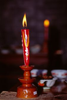 Free Red Candle Royalty Free Stock Photography - 6003787