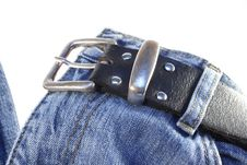 Free Jeans With Belt On White Stock Photo - 6004330