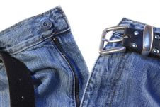Free Jeans With Belt On White Stock Images - 6004344