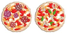 Free Two Pizzas Mushrooms Salami Royalty Free Stock Photography - 6004487